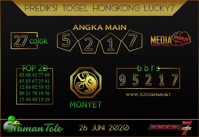 Prediksi Togel HONGKONG LUCKY 7 TAMAN TOTO 26 JUNI 2020