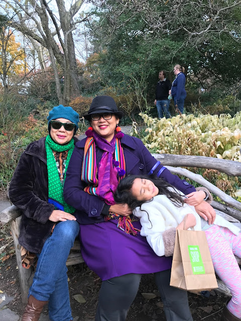 three generations enjoying autumn in Central Park, NYC