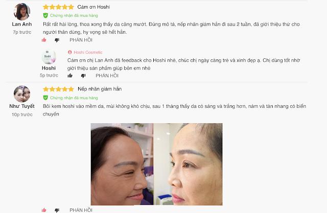 Phản hồi của khách hàng sau dùng mỹ phẩm Hoshi