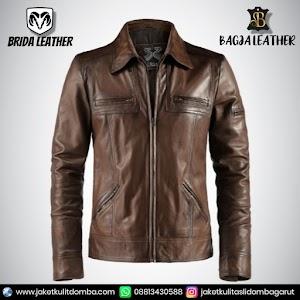 Jual Jaket Kulit Asli Garut Pria Domba Original Brida Leather B28   WA 08813430588