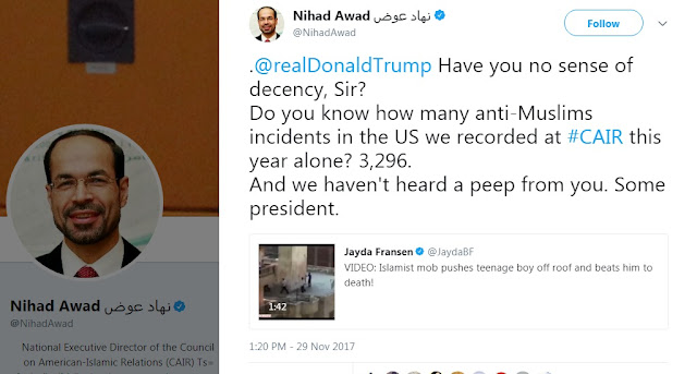 Reply from Nihad Awad (CAIR) to Donald Trump on Twitter