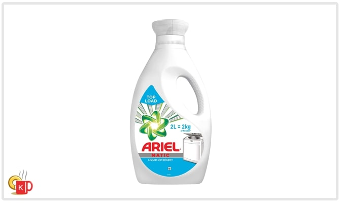 Ariel Matic laundry detergent 2 litres bottle for top-loading washing machine.