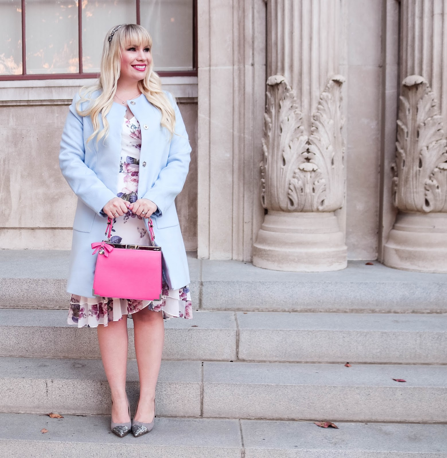 Floral Dress with Light Blue Coat