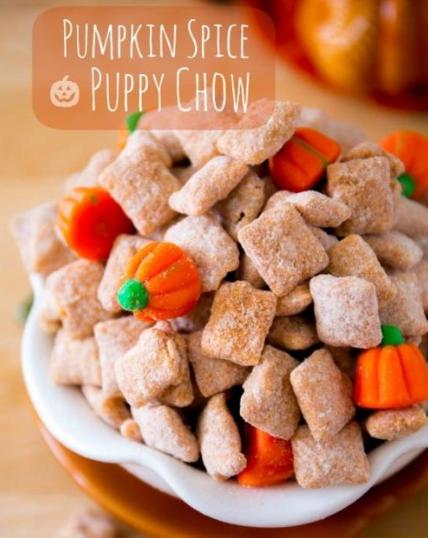 Pumpkin Spice Puppy Chow #pumpkin #desserts #cakes #bars #pie