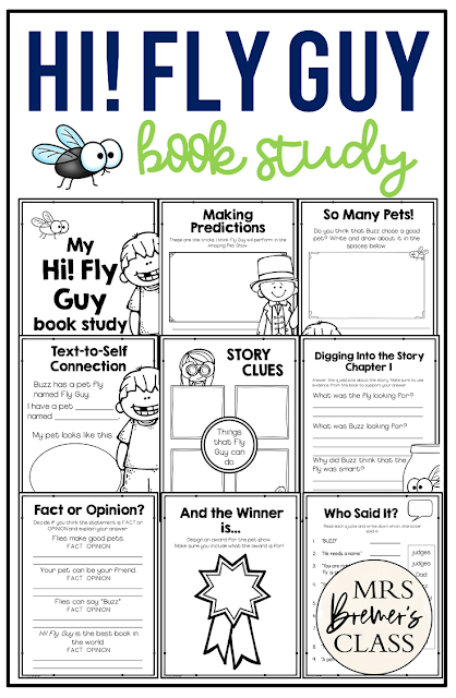 Hi Fly Guy book study literacy unit with Common Core aligned companion activities for First Grade and Second Grade