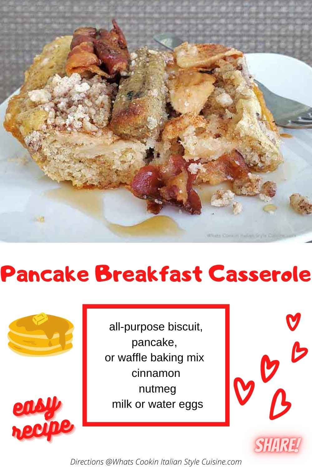 pin for later how to make breakfast pancake casserole