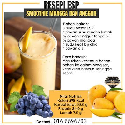 Resepi Smoothie ESP Shaklee Mangga Anggur