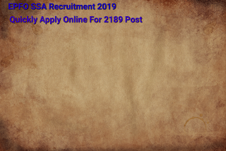 EPFO SSA Recruitment 2019- Apply For 2189 Vacancy