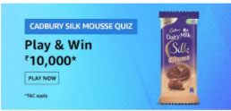 Amazon Cadbury Silk Mousse Quiz Answers - Win Rs.10000 Amazon Pay Balance