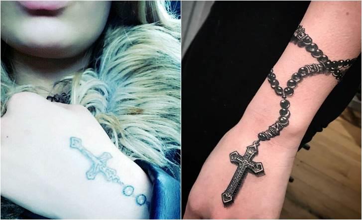 46 Gambar Tato Kalung Salib Rosario Di Tangan, Di Punggung Dan Kaki