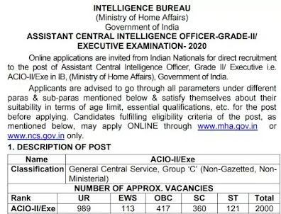 2000 Vacancy Of Assistant Central Intelligence Officer