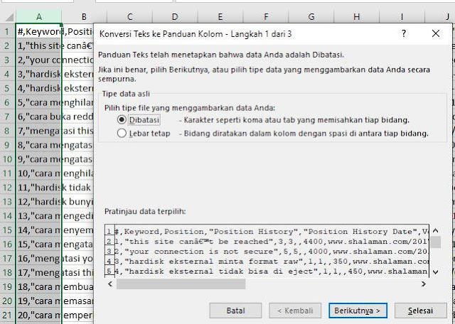 memperbaiki file CSV error