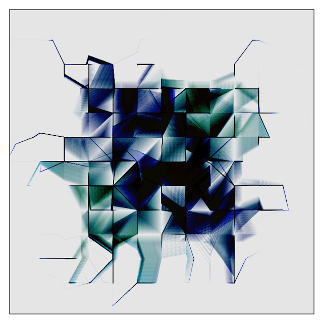 Generative art made with colored blocks and lines.