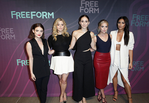 PLL actresses Lucy Hale, Ashley Benson, Sasha Pieterse, Troian Bellisario, Shay Mitchell at Freeform 2016 Upfront in New York