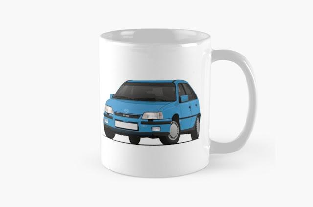 Blue Opel Kadett E GSi 16V - 2 image coffee mug