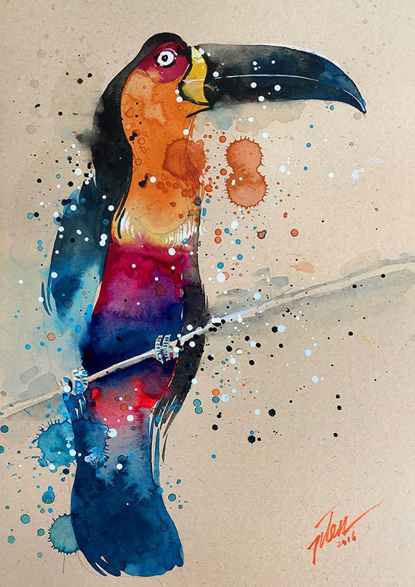 14-Toucan-Tilen-Ti-Colorful-Watercolor-Paintings-of-Animals-www-designstack-co
