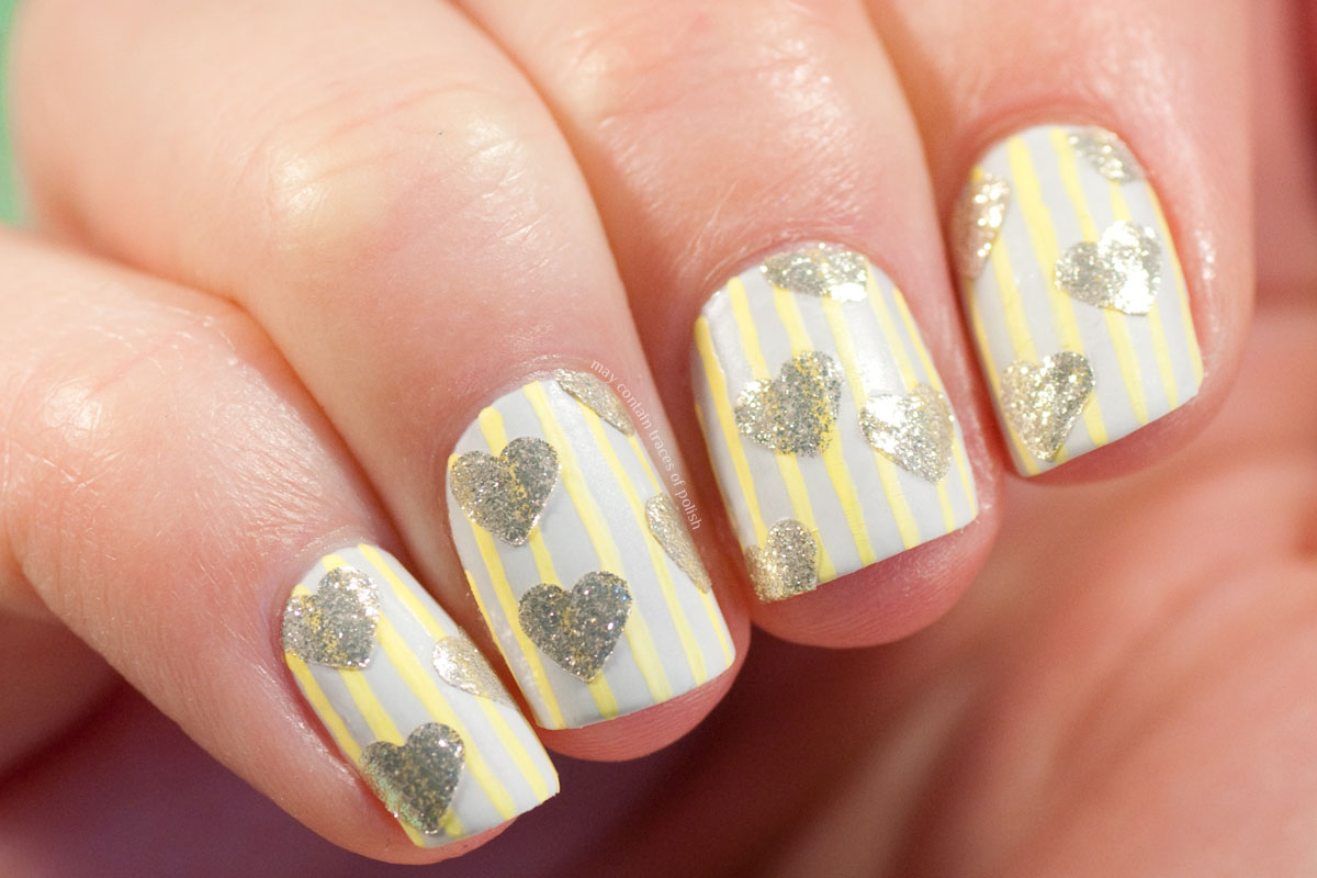Hearts and Stripes Manicure for Valentine's Day - simple nail art design
