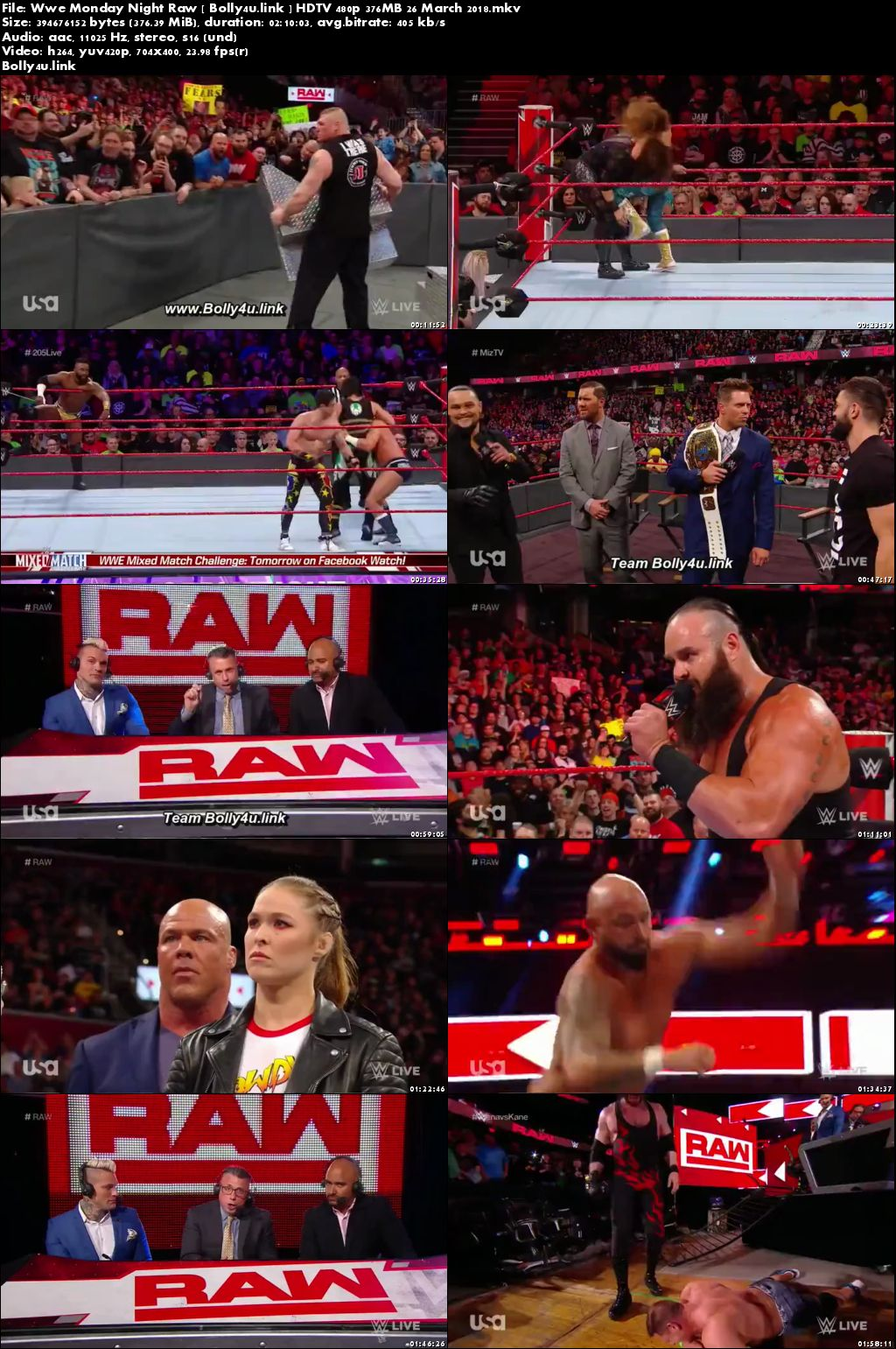 WWE Monday Night Raw HDTV 480p 350MB 26 March 2018 Download