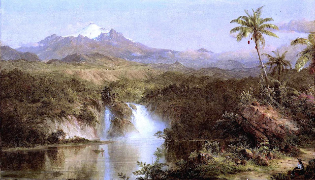 Frederic Church painting of waterfalls and mountains