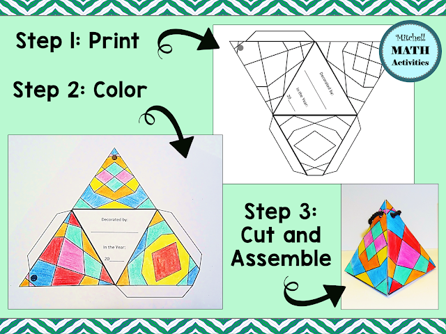A 3D holiday ornament pattern and a sample project shown in stages