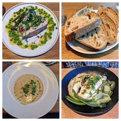 What to eat in Bergen: collage of dinner at Bergenhus Bryggeri