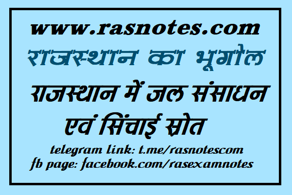 Geography of Rajasthan- Notes on Water Resources of Rajasthan