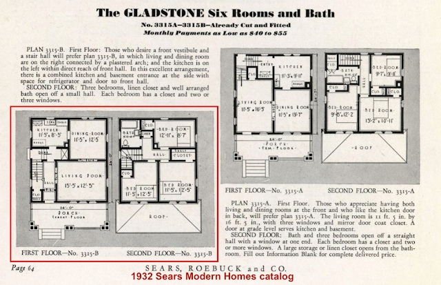 black and white catalog image of the two floorplans for the Sears Gladstone, 1932 catalog