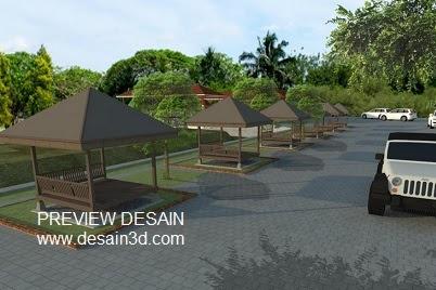 Gambar Desain Visualisasi 3D Perspektif Cafe Saung
