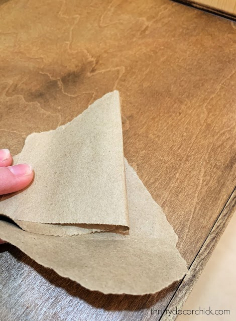 sanding wood with paper bags