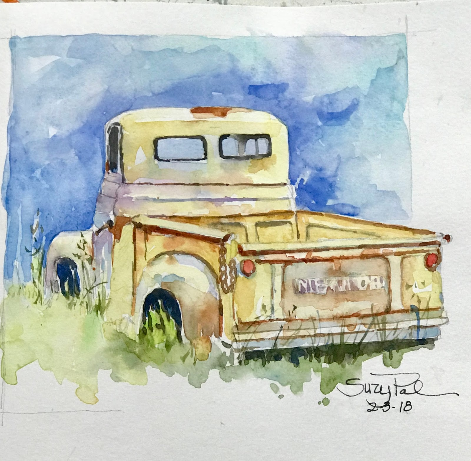 Suzy \'Pal\' Powell Watercolors Collages and Sketches: Old Vehicles