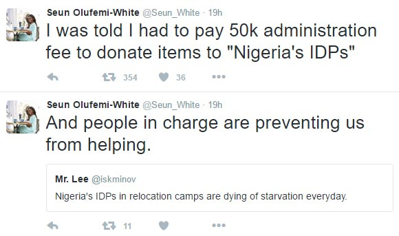 You'll be charged 50k if you want to donate to IDPs -  witness