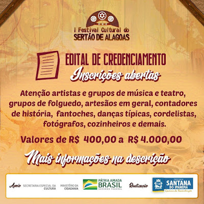 Prefeitura de Santana do Ipanema abre credenciamento para o I Festival Cultural do Sertão de Alagoas
