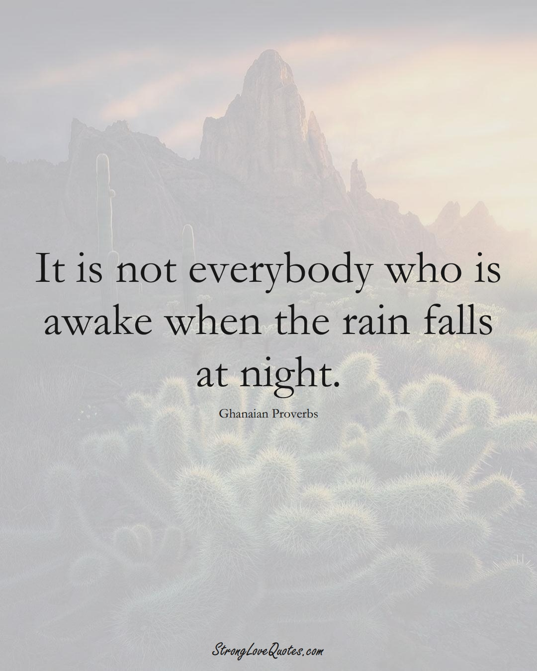 It is not everybody who is awake when the rain falls at night. (Ghanaian Sayings);  #AfricanSayings
