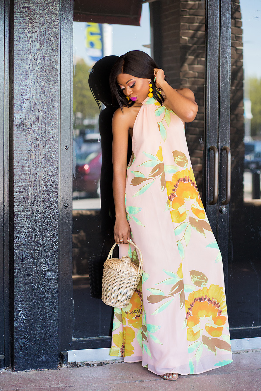 Summer wedding, straw bag, maxi dress, www.jadore-fashion.com