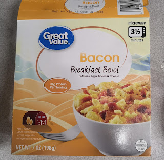Box packaging for Great Value Bacon Breakfast Bowl, from Walmart