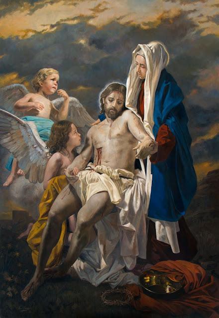 Nossa Senhora segurando Jesus Cristo