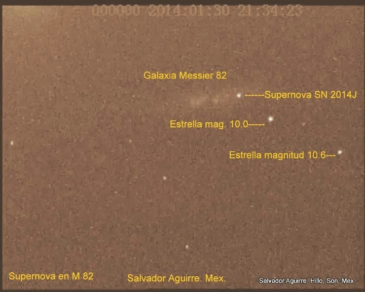 Supernova en M82 (SN 2014J): Video e Imagenes 2014 01 30 UT.