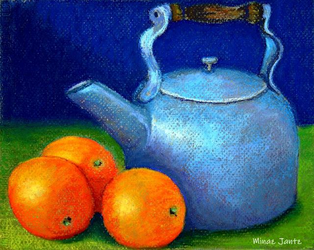 Three Oranges & Kettle by Minaz Jantz (Pastel)
