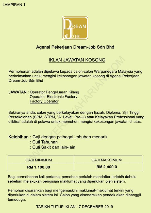 [KEMASKINI] Pencarian Pekerja di Agency Pekerjaan Dream-Job Sdn Bhd / Kelayakan SPM