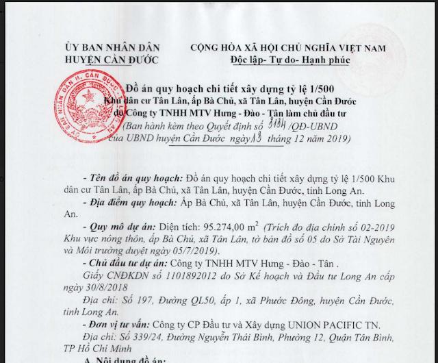 Quyết định 1/500 Tân Lân Residence