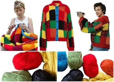 Chaqueta vintage-patchwork crochet de Harry Styles
