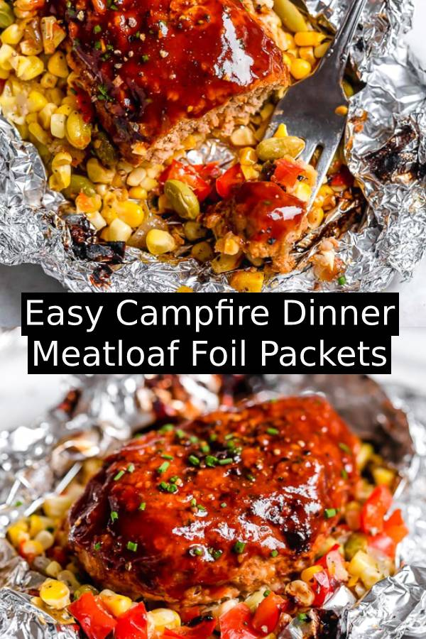 Easy Campfire Dinner Meatloaf Foil Packets - These Campfire Meatloaf Foil Packets are great for camping, glamping or for an easy weeknight dinner made with turkey meatloaf, BBQ sauce and succotash. #campfire #meatloaf #meatloafrecipe #foil #dinnerrecipe #easydinnerrecipe #bbq #weeknight #weeknightdinner
