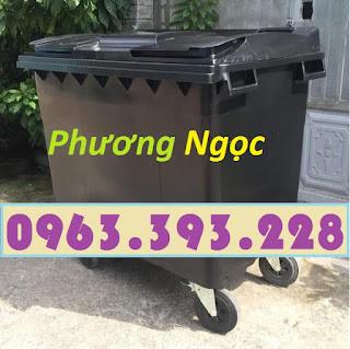 Thùng rác y tế 4 bánh 660L, xe gom rác y tế nhựa HDPE, xe thu gom rác thải y tế 660L, thùng chứa rác