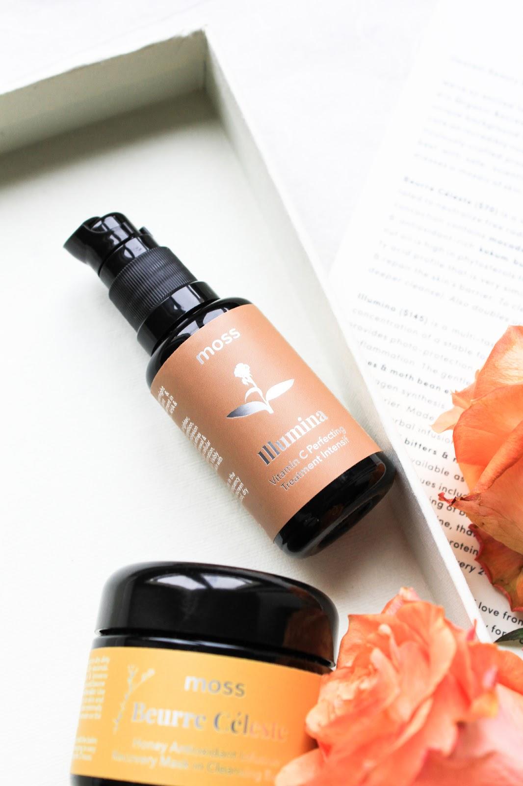 MOSS Illumina Vitamin C Perfecting Treatment Intensif. Beurre Céleste Honey Antioxidant Infusion Recovery Mask in Cleansing Baum. Boxwalla June Beauty Box 2018.