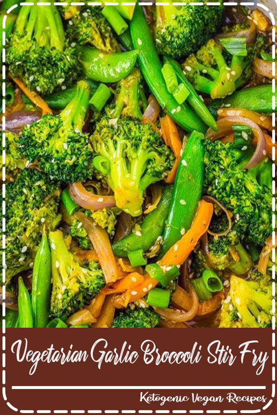 Healthy Dinner Recipes: One of my favorite broccoli recipes! This vegetarian garlic broccoli stir fry recipe is ready in just 10 minutes. Serve this easy vegan recipe over your favorite rice for a quick weeknight dinner. #healthy #healthyeating #vegetarian #vegan