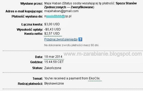 EkoClix.com - wypłata