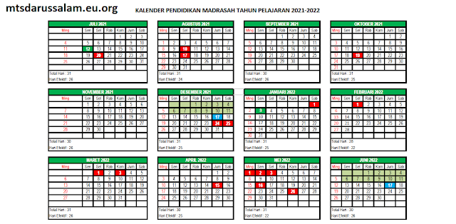 Kelender Pendidikan Madrasah Jatim Tapel 2021-2022