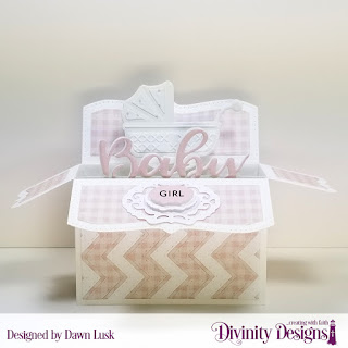 Stamp_Die Duos_ Bless This Baby_ Custom Dies_ Surprise Box Wide_ Baby Carriage_ Chevron Background_ Vintage Border_ Vintage Labels_ Paper Collection_ Baby Girl