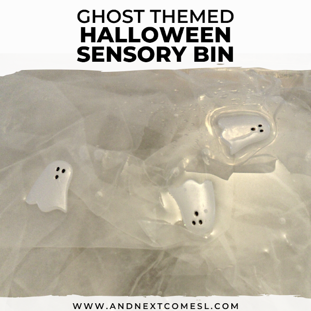 Sensory bin idea for Halloween inspired by ghosts