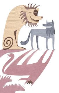 Fábula el Lobo orgulloso de su sombra y el león con moraleja